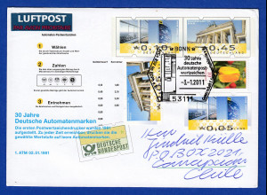 Ganzsache mit ATM-Motiv 10 / 45 Cent Sonder-O 30 Jahre ATM 2.1.2011 -> Chile !