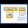 ATM 4.1 Restwerte 3, 20, 28 Cent auf Brief mit Sonder-O Deggendorf, 7.3.2002