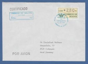 Bolivien Klüssendorf ATM 1989 ATM 2,80 auf R-FDC gelaufen nach Deutschland