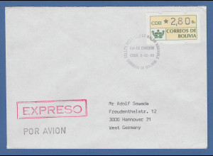 Bolivien Klüssendorf ATM 1989 ATM 2,80 auf Express-FDC gelaufen nach Deutschland