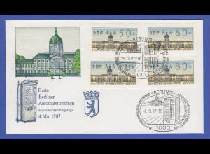 Berlin 4 ATM mit Passerverschiebung (oben weiße Linie) auf FDC 4.5.87 markant !