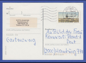 Berlin ATM Wert 60 Pfg ohne DBP gedruckt auf Preisausschreiben-Postkarte, 1989
