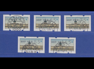 Berlin ATM Versandstellen-Satz VS2 5 Werte 5-65-75-85-145 mit Nr. Berlin-Stempel