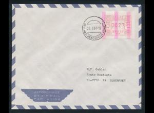 Griechenland Frama-ATM mit ENDSTREIFEN, Aut.-Nr. 002 Wert 0027 als EF auf Brief