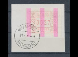 Griechenland Frama-ATM mit ENDSTREIFEN, Aut.-Nr. 003 Wert 0027 O auf Briefstück.