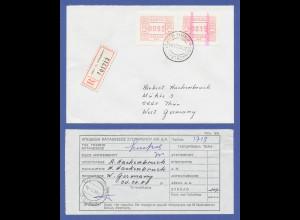 Griechenland Frama-ATM mit ENDSTREIFEN, Aut.-Nr. 007 ATM 0015 auf R-Brief