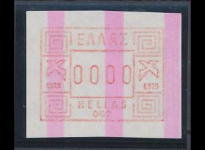 Griechenland: Frama-ATM mit ENDSTREIFEN Aut.-Nr. 002 als 0000-Druck