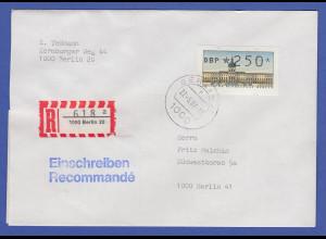 ATM Berlin 250 Pfg mit AQ aus MWZD BERLIN 20 auf R-Brief, 27.5.87