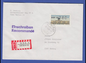 ATM Berlin 280 Pfg mit AQ aus MWZD BERLIN 20 auf R-Brief, 27.5.87