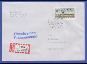 ATM Berlin 250 Pfg mit AQ aus MWZD BERLIN 21 auf R-Brief, 3.6.87