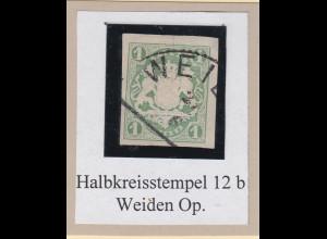 Bayern Wappen 1 Kreuzer Mi-Nr. 14a mit Halbkreisstempel WEIDEN