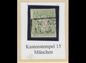 Bayern Wappen 1 Kreuzer Mi-Nr. 14a mit Kastenstempel MÜNCHEN