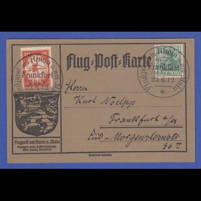 DR Flugpost am Rhein und Main 20 Pfg. E.EL.P. auf Postkarte Frankfurt 23.6.12
