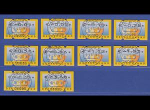 ATM 3 Posthörner, €-Währung Sielaff Mi-Nr. 4.1 Satz 0,01-3,68 gest. HAMBURG