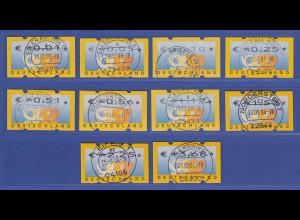 ATM 3 Posthörner, €-Währung Sielaff Mi-Nr. 4.1 Satz 0,01-3,68 mit Nr., gestemp.