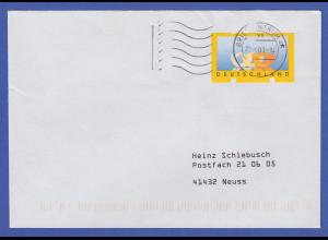 ATM Motiv 3 Posthörner Leerfeld zu DM-Zeiten verwendet auf gel. Brief