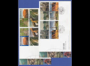 WORLD HERITAGE australische und britische Briefmarken 2 Sätze auf 2 FDC, 2005