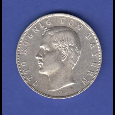 Dt. Kaiserreich Silbermünze 3 Mark Otto Koenig von Bayern 1909 D