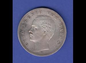 Dt. Kaiserreich Bayern Silbermünze 5 Mark Otto Koenig von Bayern 1907 D