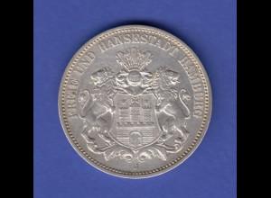 Dt. Kaiserreich Silbermünze 3 Mark Freie und Hansestadt Hamburg 1910 J