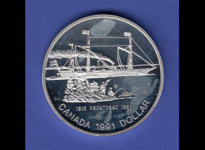 Kanada Silbermünze 1 Dollar 1991 Ontariosee Frontenac Ag500