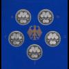 Bundesrepublik 10DM 1998: 50 Jahre Deutsche Mark 5 Münzen ADFGJ in PP im Folder