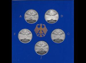 Bundesrepublik 10DM 1998: Franckesche Stiftungen 5 Münzen ADFGJ in PP im Folder