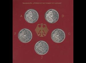 Bundesrepublik 10DM 1999: Weimar Goethe 250. Geb. 5 Münzen ADFGJ in PP im Folder