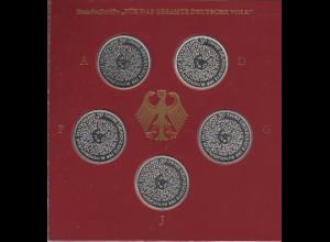Bundesrepublik 10DM 1999: 50 Jahre Grundgesetz 5 Münzen ADFGJ in PP im Folder