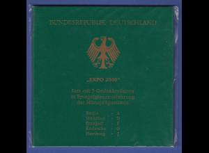 Bundesrepublik 10DM 2000: EXPO Hannover 5 Münzen ADFGJ in PP im Folder