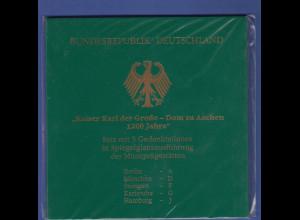 Bundesrepublik 10DM 2000: Karl der Große Dom zu Aachen ADFGJ in PP im Folder