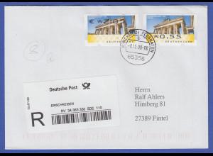 ATM Mi.-Nr. 6 mit Wert oben (Fehldruck) und unten (normal) auf R-Brief 8.11.08