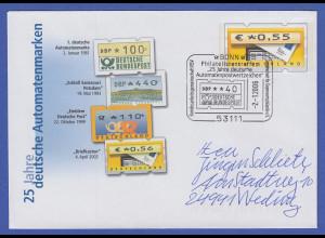 Ganzsache 25 Jahre ATM mit ATM-Wertstempel 0,55 mit Sonder-O BONN 2.1.2006