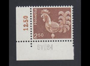 Schweiz Turmhahn ohne Phosphoreszenz Mi.-Nr. 1057x Eckrandstück mit Drucktatum