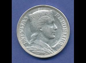 Lettland, Silbermünze Trachtenmädchen Milda 5 Lati, 1931