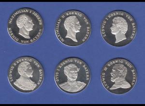 Die Bayerischen Könige, Medaillen-Set 6 Stück je 15g Ag999 ANSEHEN !