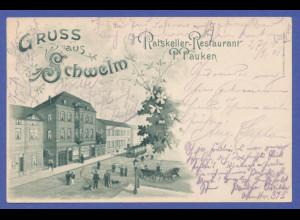 AK Gruss aus Schwelm 1903 gelaufen nach Düsseldorf.