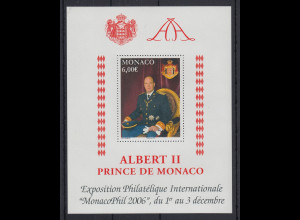 Monaco MonacoPhil 2006 Blockausgabe Fürst Albert II. Mi.-Nr. Block 94 **