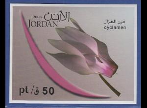 Jordanien 2008 Blockausgabe Blumen Alpenveilchen, Mi.-Nr. Block 128 **