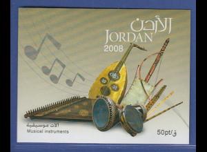 Jordanien 2008 Blockausgabe Musikinstrumente, Mi.-Nr. Block 127 **
