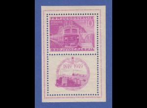 Jugoslawien 1949, Blockausgabe 100 Jahre Eisenbahn gez. Mi.-Nr. Block 4A **