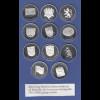 11 alte Bundesländer Satz 11 edle Silbermedaillen PP, je ca. 24,5g Ag925