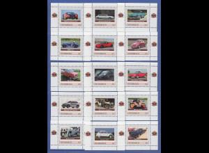 Österreich Briefmarken legendäre Automobile 19 Motive je als Mini-Block **