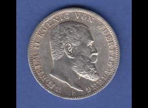Württemberg 1913 Silbermünze König Wilhelm II. 3 Mark 1913