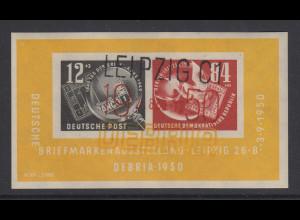 DDR 1950 DEBRIA-Block Mi.-Nr. Block 7 mit 3-farbigem Sonderstempel LEIPZIG C1