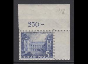 Berlin Berliner Bauten 5DM Tegel Schloss Mi.-Nr. 60 Eckrandstück OR **