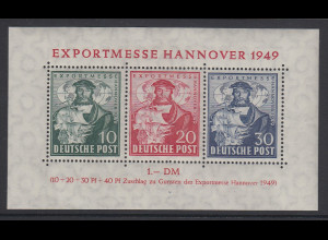 Bizone Blockausgabe Exportmesse Hannover 1949 Mi.-Nr. Block 1 postfrisch