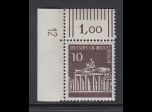 Berlin 10 Pfennig Brandenburger Tor Mi.-Nr 286 Eckrandstück mit DZ 12 **