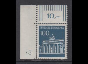 Bund 100 Pfennig Brandenburger Tor Mi.-Nr 510 Eckrandstück mit DZ 12 **