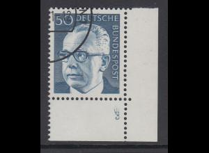 Berlin 50 Pfennig Heinemann Mi.-Nr 365 Eckrandstück mit Formnummer 3 gestempelt